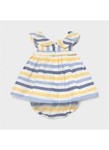 Mayoral Mayoral Yenidoğan Kiz Bebek Keten Elbise Mavi 20608 Mavi